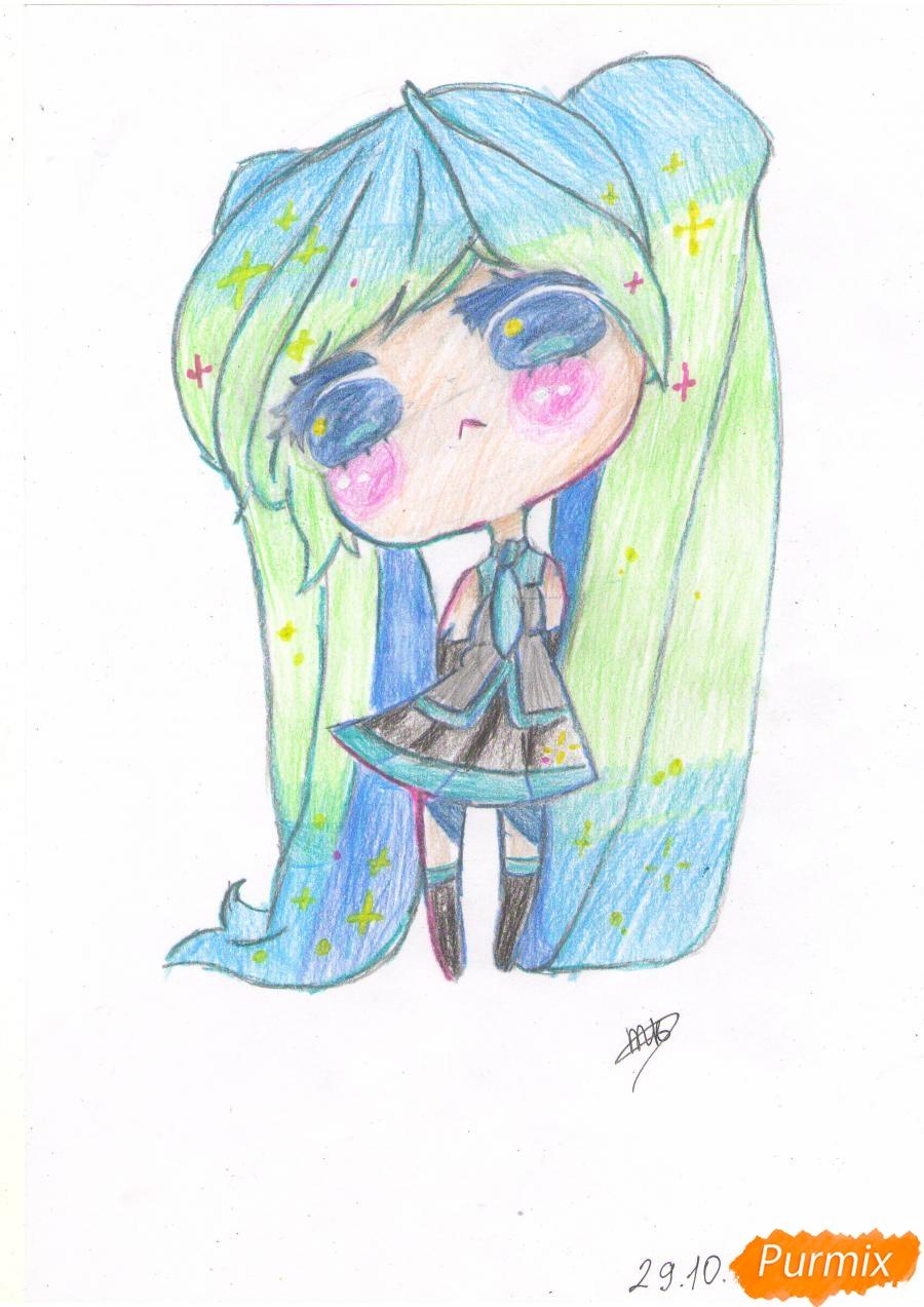 Рисуем грустную Хацунэ Мику в чиби стиле - шаг 8