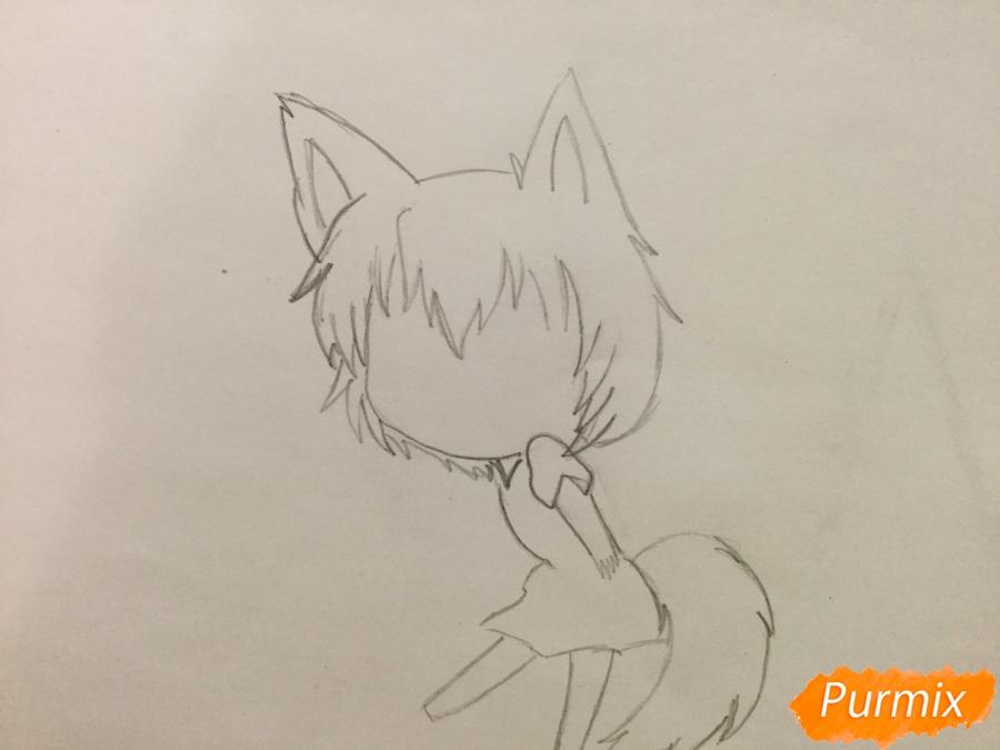 Рисуем и раскрасить аниме девочку чиби карандашами - шаг 3