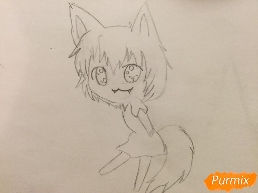 Рисуем и раскрасить аниме девочку чиби карандашами - шаг 4