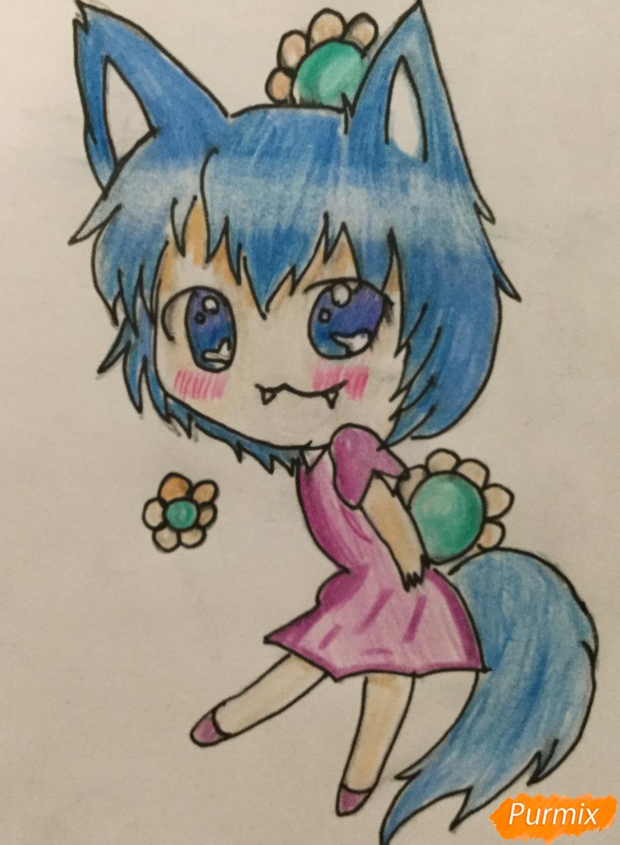 Рисуем и раскрасить аниме девочку чиби карандашами - шаг 5
