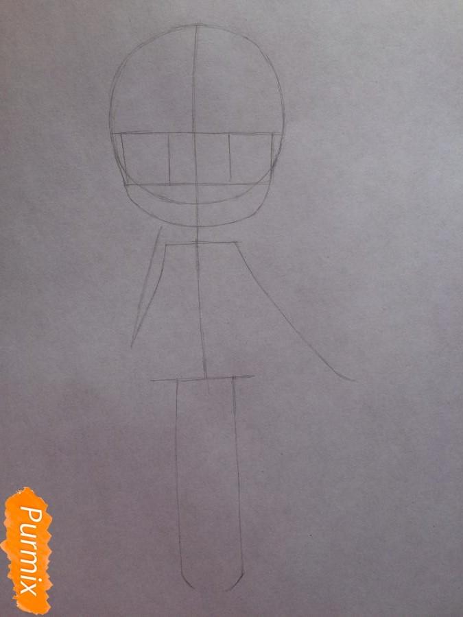 Рисуем и раскрасить чиби девочку цветными карандашами - шаг 3
