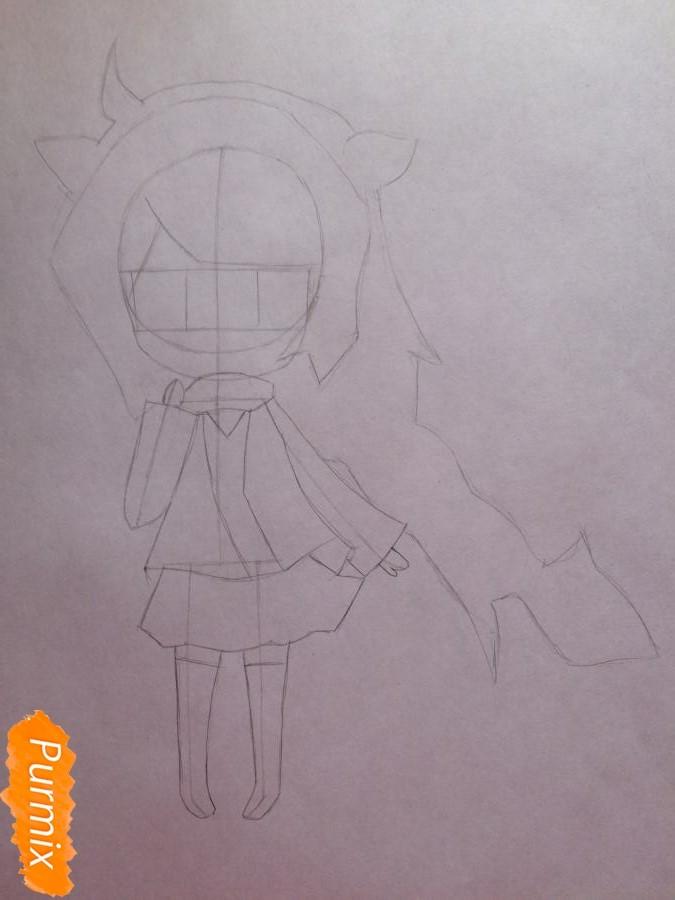 Рисуем и раскрасить чиби девочку цветными карандашами - шаг 5