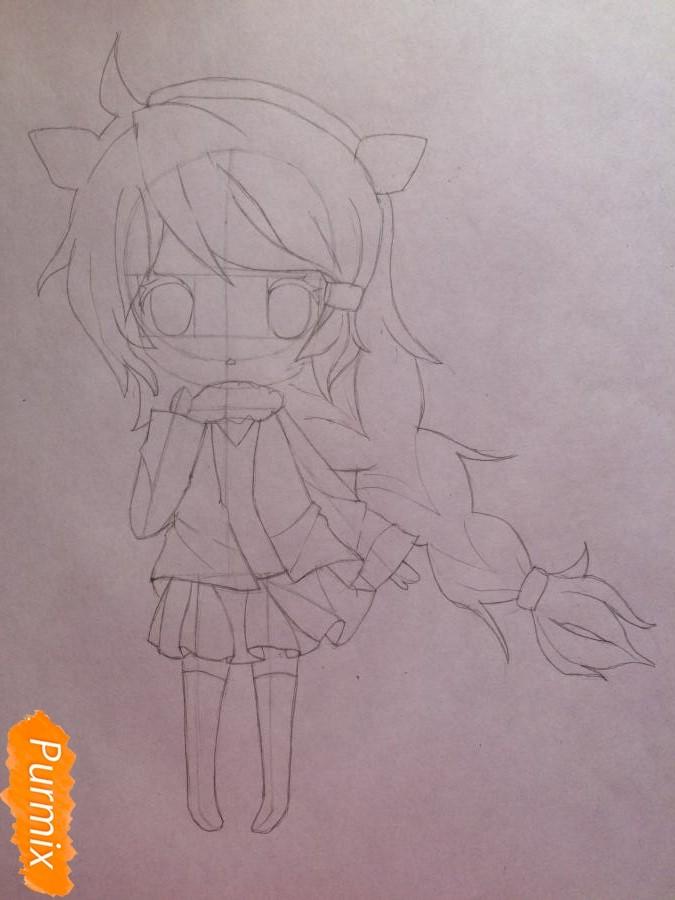 Рисуем и раскрасить чиби девочку цветными карандашами - шаг 6