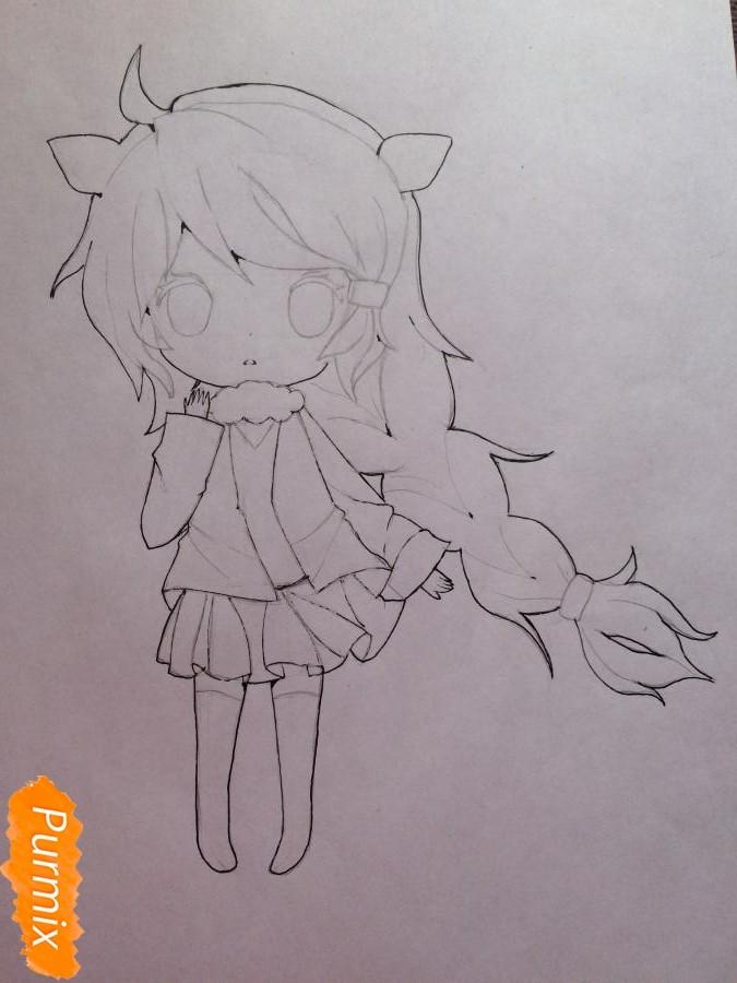 Рисуем и раскрасить чиби девочку цветными карандашами - шаг 7