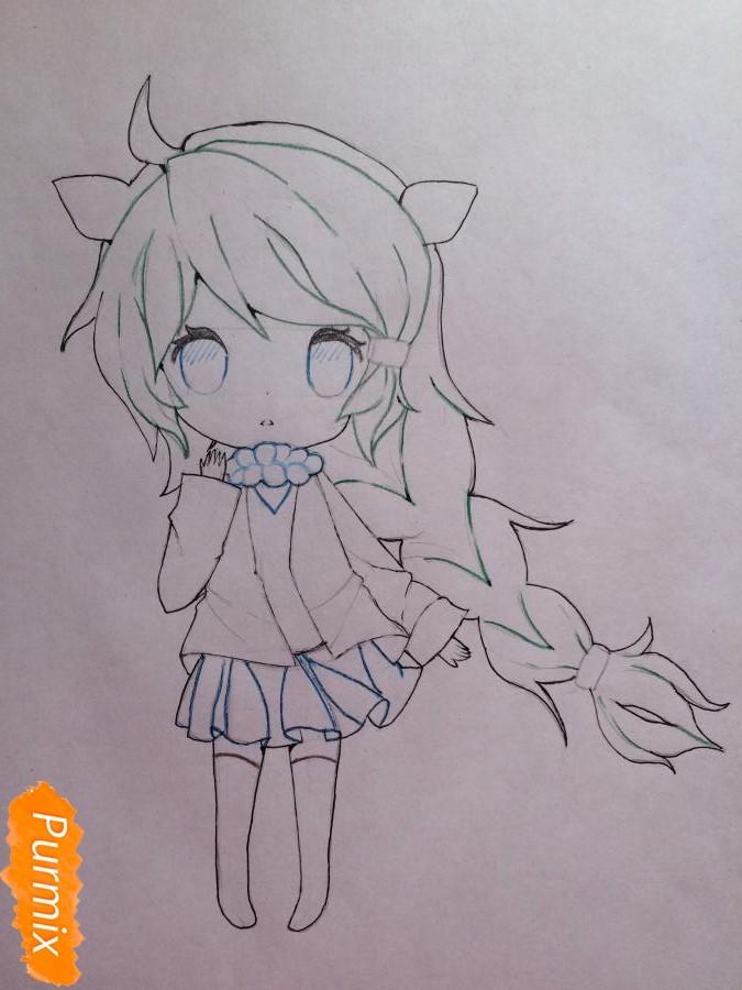 Рисуем и раскрасить чиби девочку цветными карандашами - шаг 8