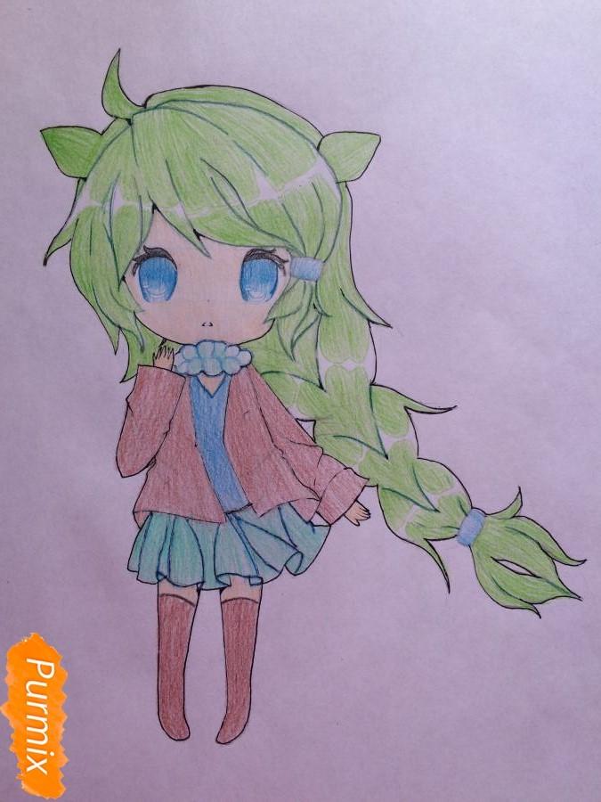 Рисуем и раскрасить чиби девочку цветными карандашами - шаг 9
