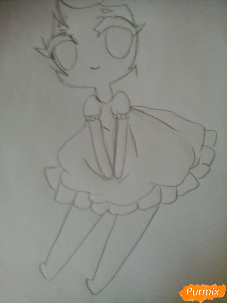 Рисуем и раскрасить девочку-ангела в стиле чиби - шаг 3