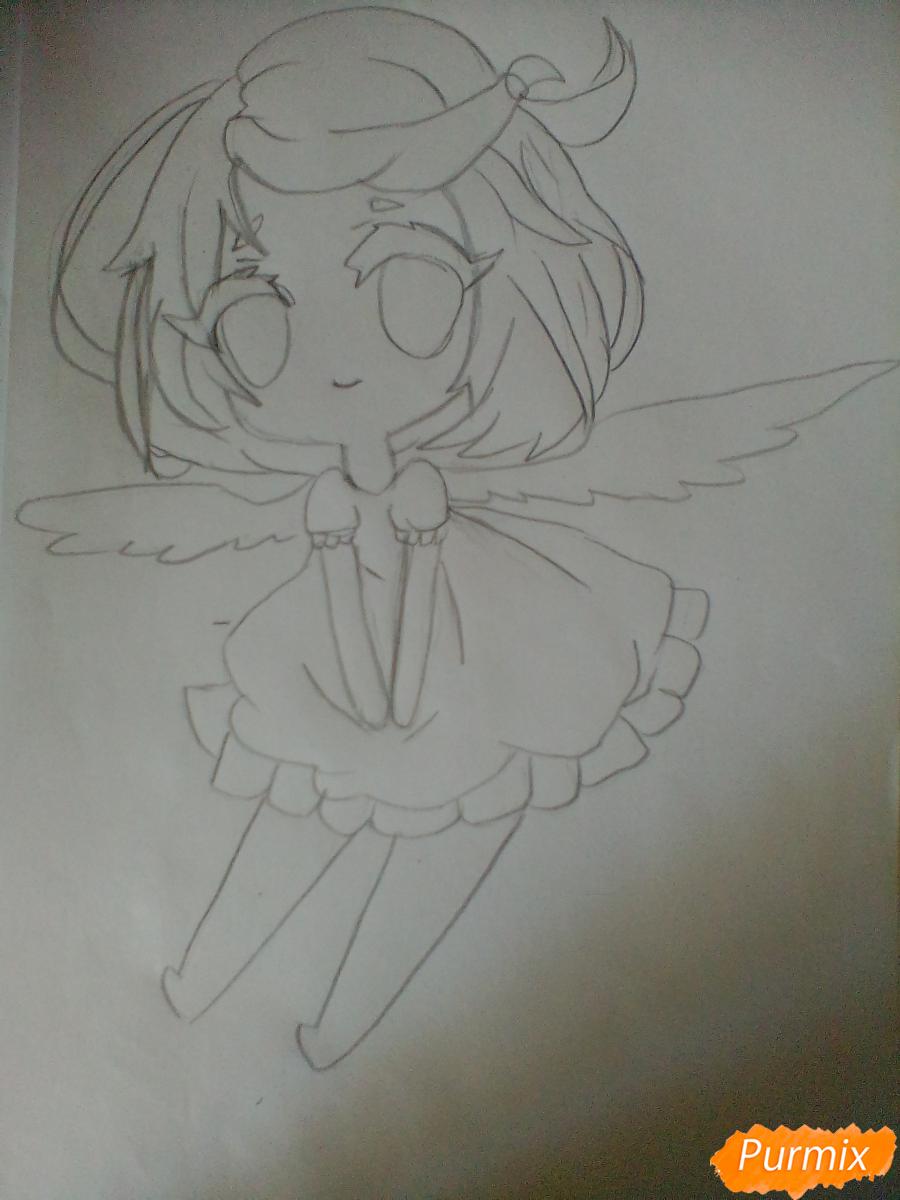 Рисуем и раскрасить девочку-ангела в стиле чиби - шаг 4