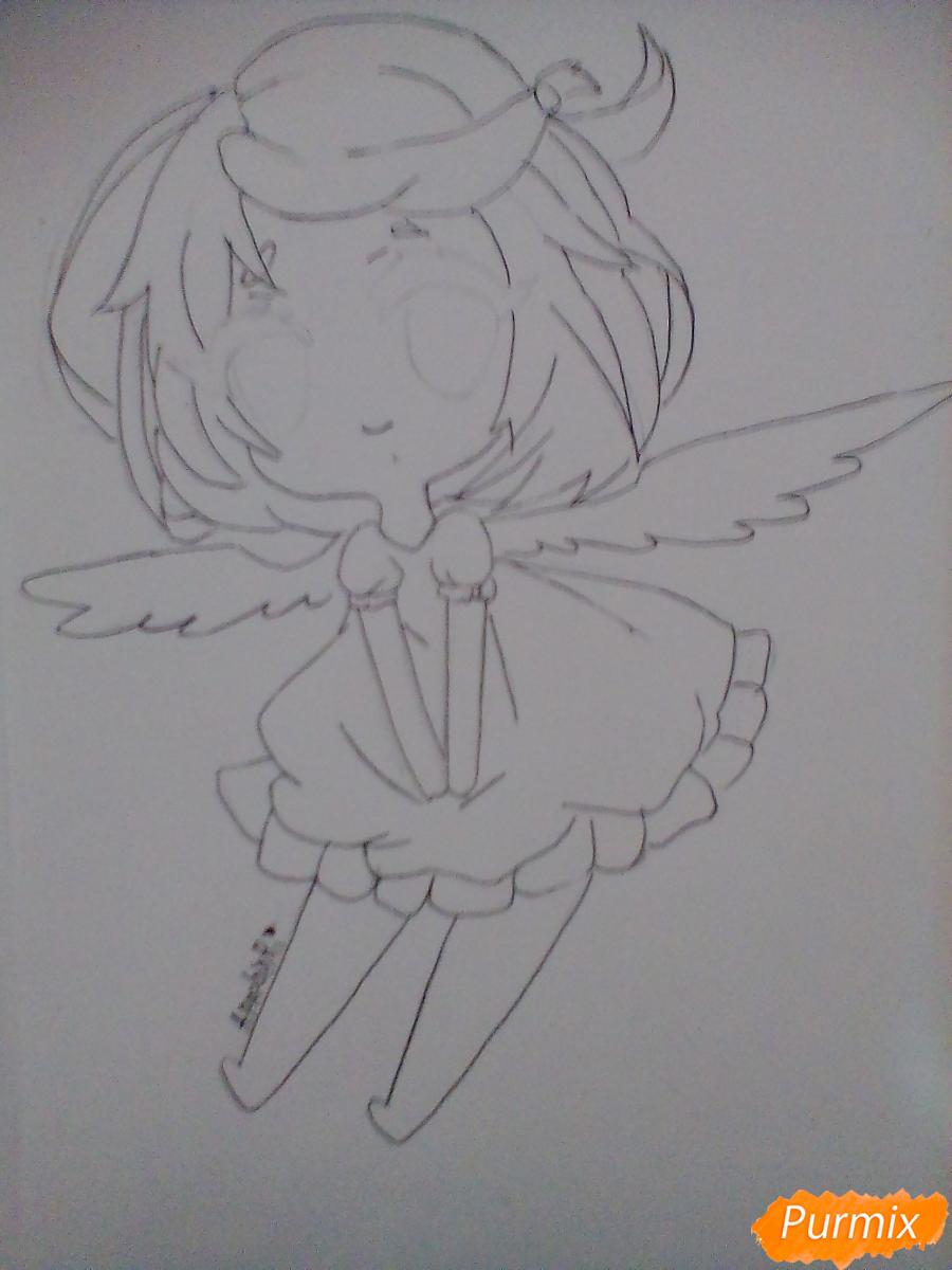 Рисуем и раскрасить девочку-ангела в стиле чиби - шаг 5