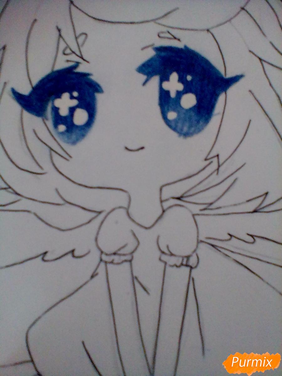 Рисуем и раскрасить девочку-ангела в стиле чиби - шаг 6