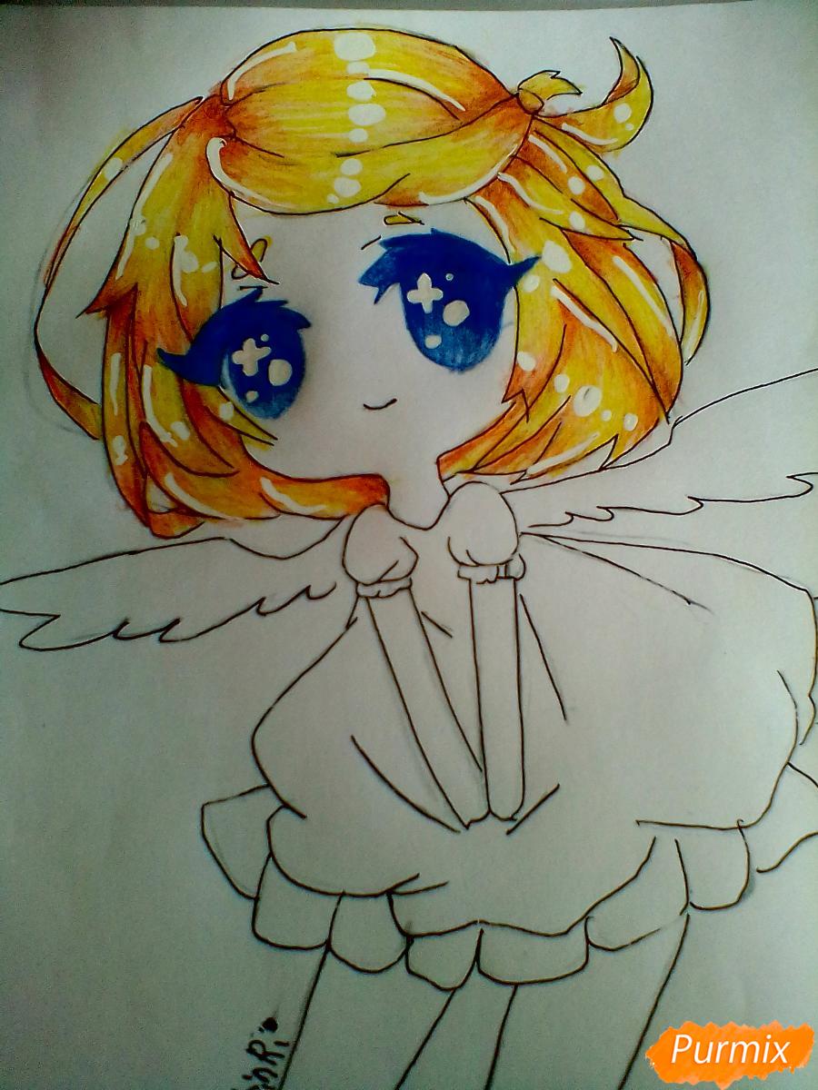 Рисуем и раскрасить девочку-ангела в стиле чиби - шаг 7
