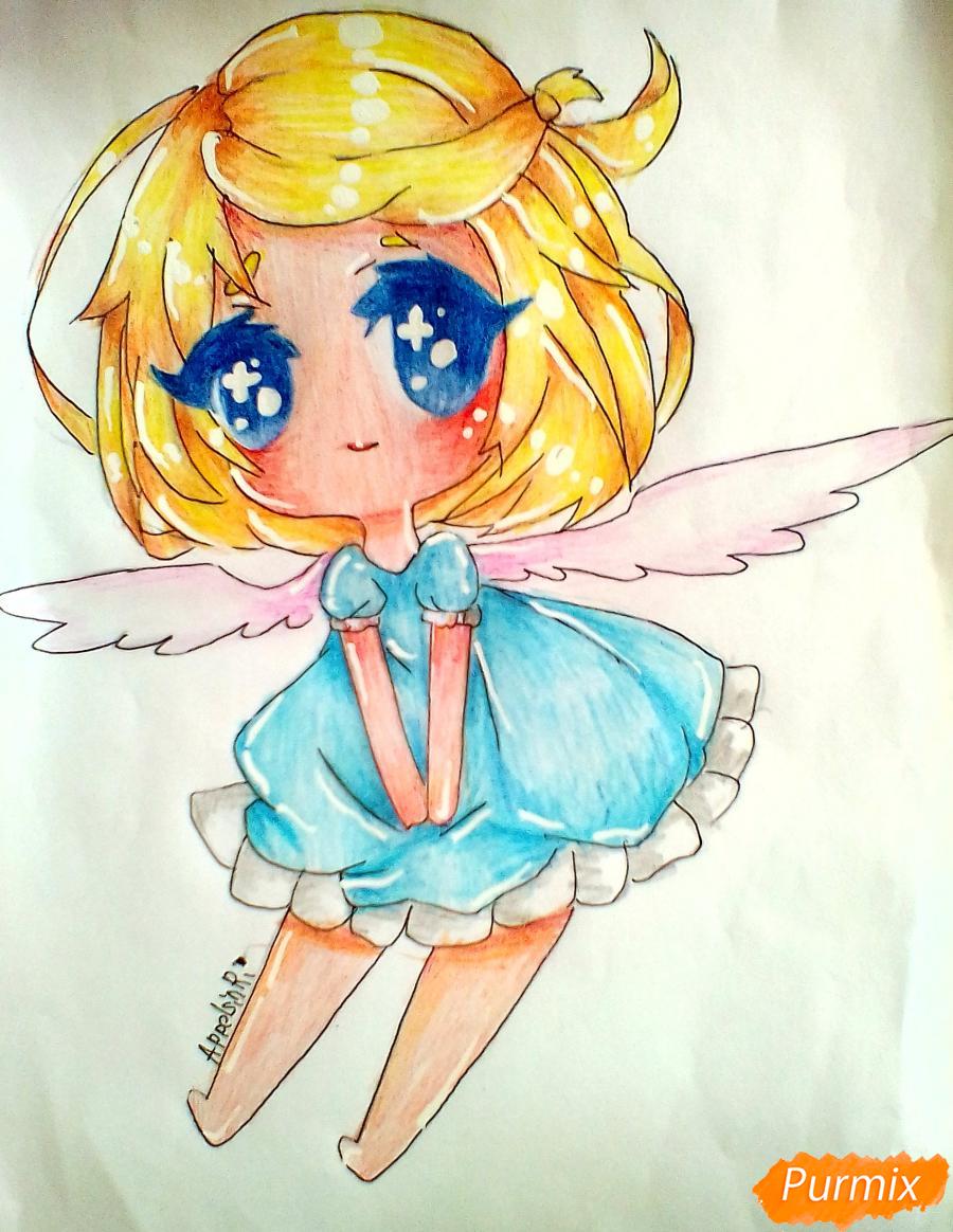 Рисуем и раскрасить девочку-ангела в стиле чиби - шаг 9