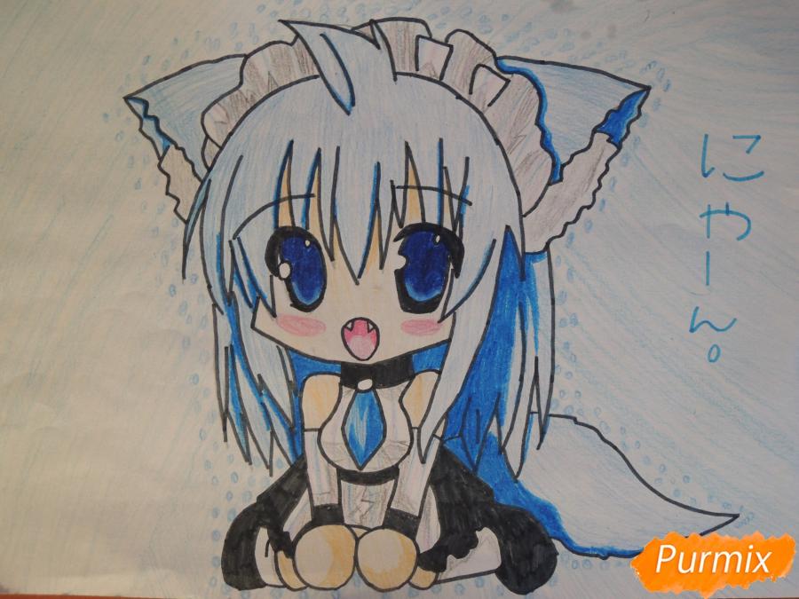 Рисуем и раскрасить сидящею девушку кошечку в стиле чиби - шаг 7