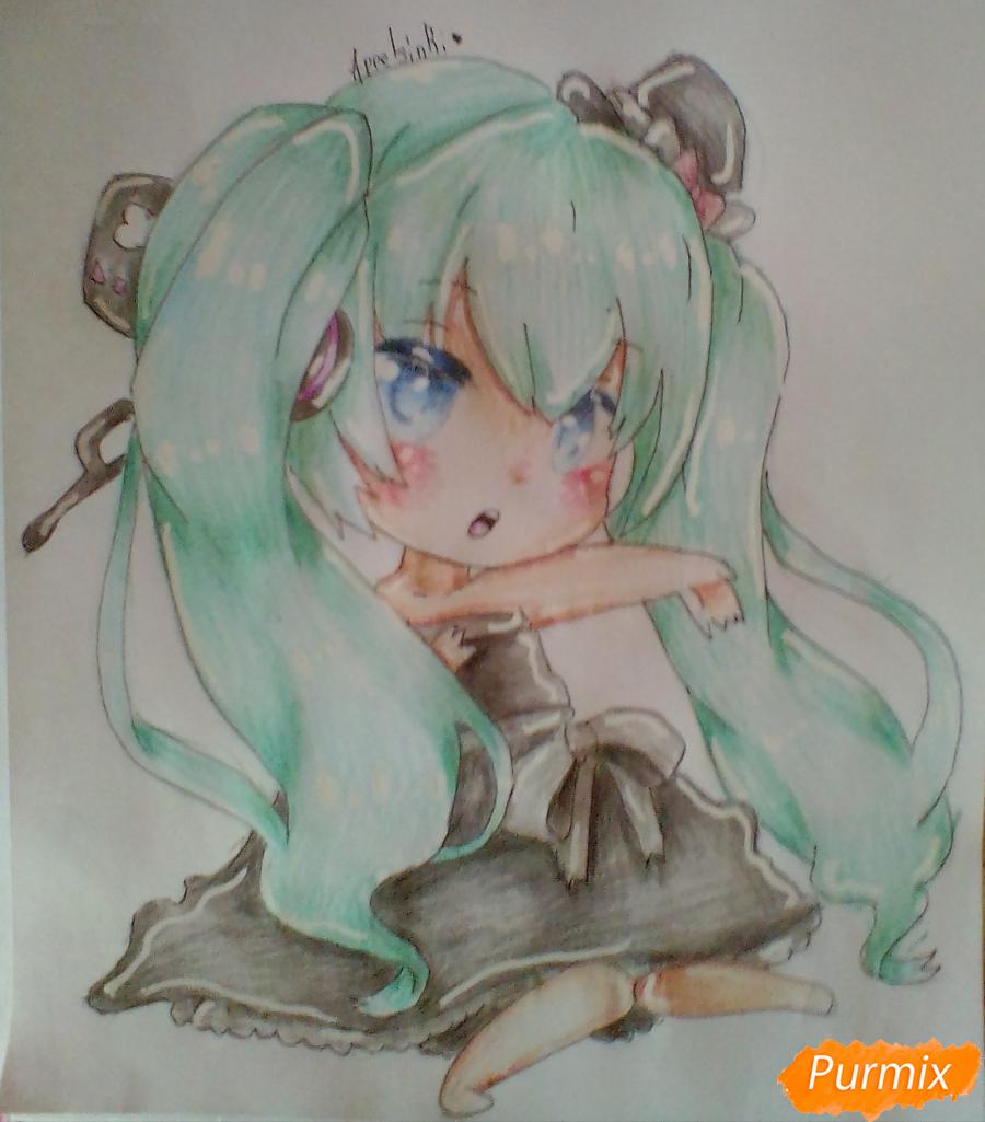 Рисуем и раскрасить вокалоида Мику Хацуне в стиле чиби - шаг 10