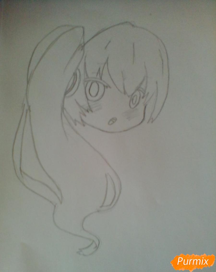 Рисуем и раскрасить вокалоида Мику Хацуне в стиле чиби - шаг 3