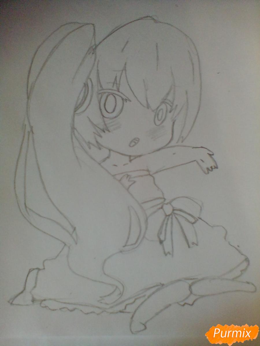 Рисуем и раскрасить вокалоида Мику Хацуне в стиле чиби - шаг 4