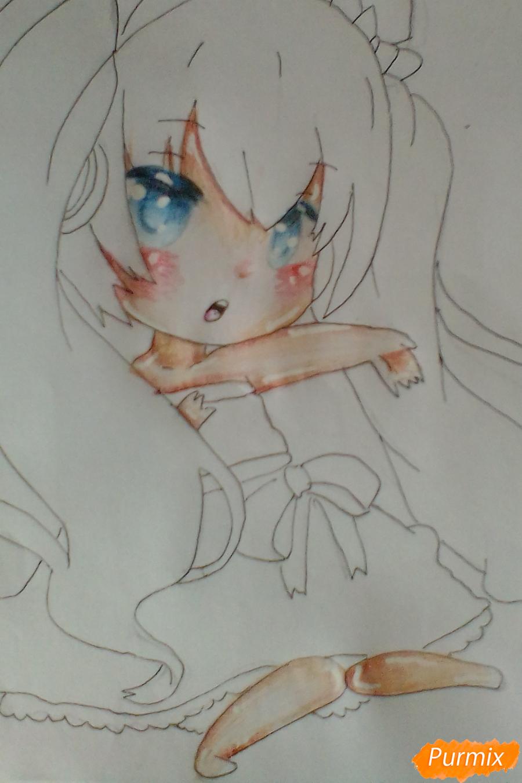 Рисуем и раскрасить вокалоида Мику Хацуне в стиле чиби - шаг 8