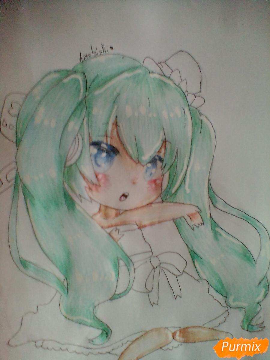 Рисуем и раскрасить вокалоида Мику Хацуне в стиле чиби - шаг 9