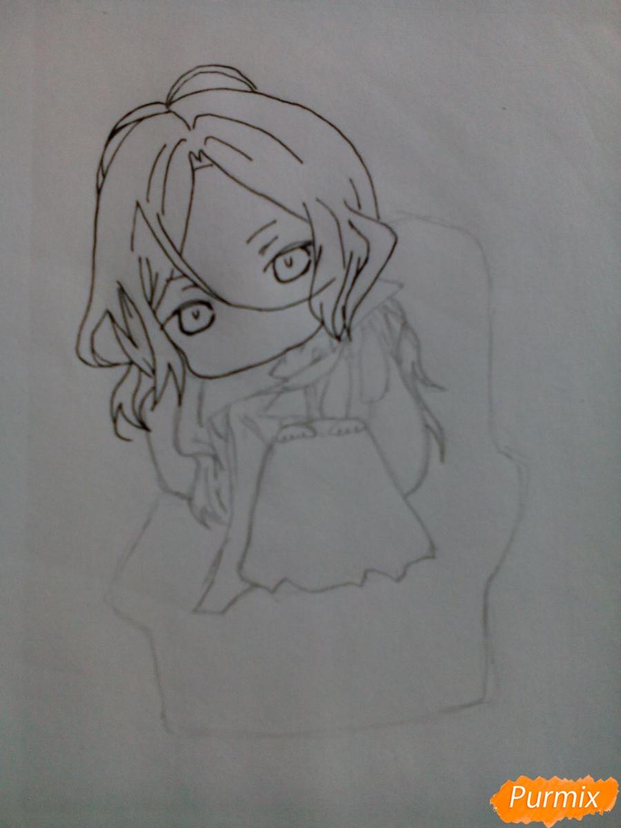 Рисуем Карла Хайнца из дьявольских возлюбленных в стиле чиби - шаг 5