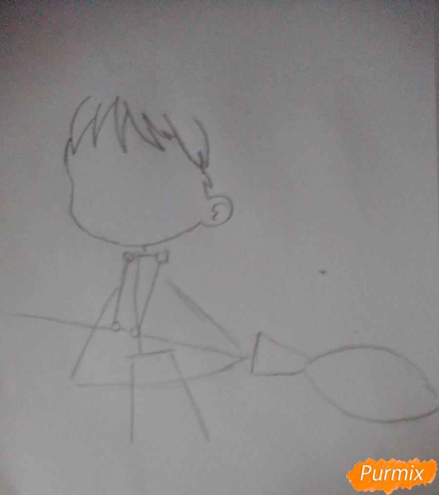 Рисуем Кики в стиле чиби из аниме Ведьмина служба доставки карандашами - шаг 1