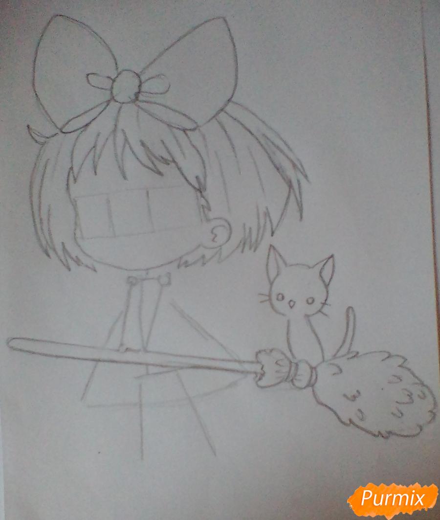 Рисуем Кики в стиле чиби из аниме Ведьмина служба доставки карандашами - шаг 2