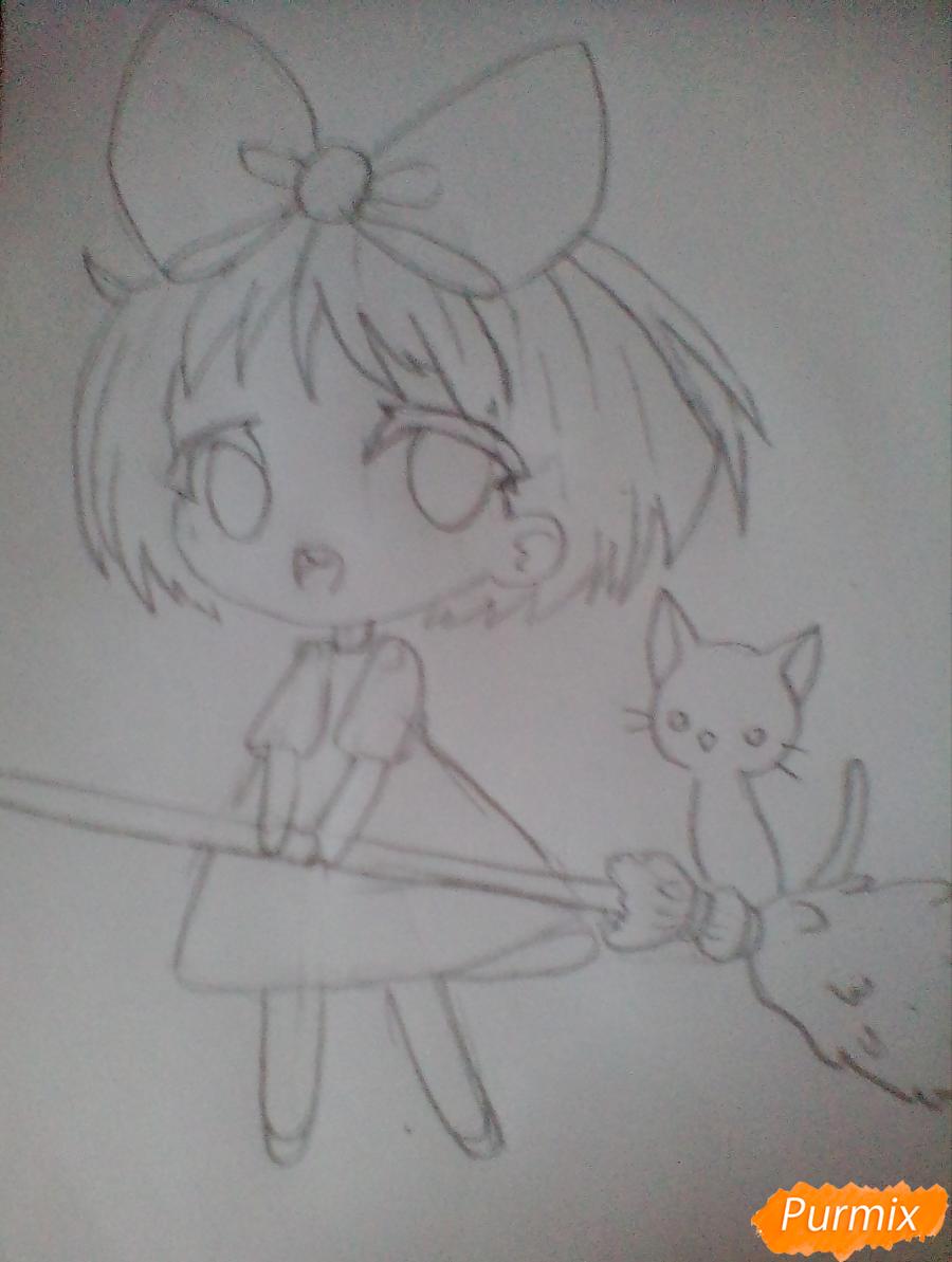 Рисуем Кики в стиле чиби из аниме Ведьмина служба доставки карандашами - шаг 3