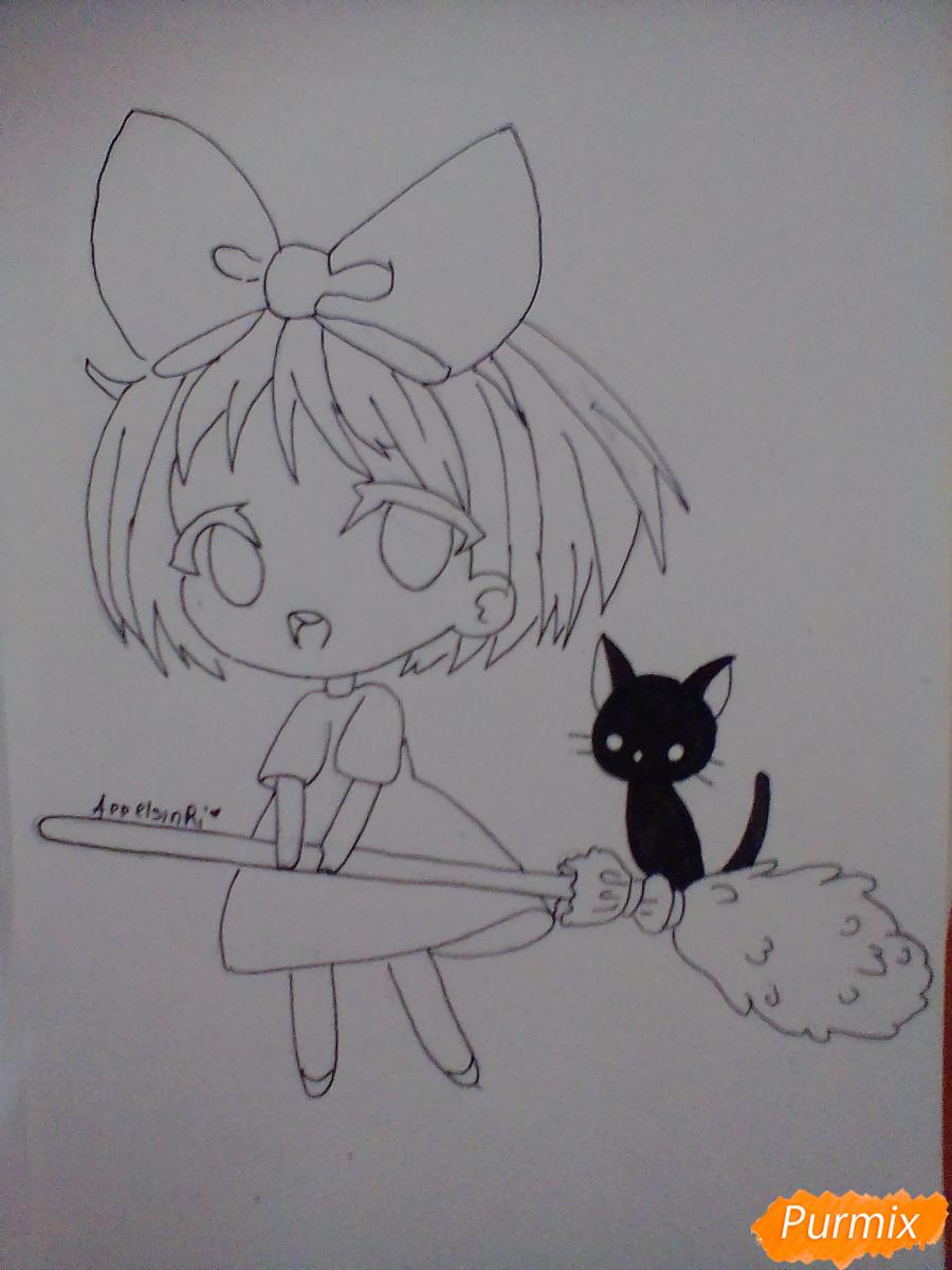 Рисуем Кики в стиле чиби из аниме Ведьмина служба доставки карандашами - шаг 4