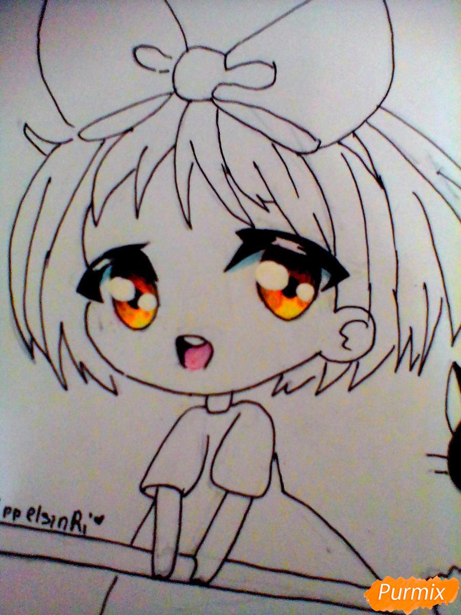 Рисуем Кики в стиле чиби из аниме Ведьмина служба доставки карандашами - шаг 5