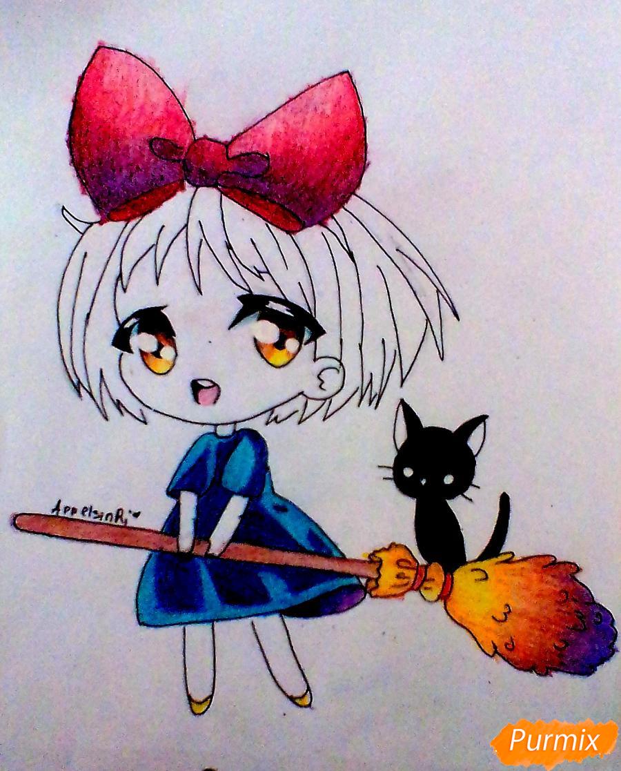 Рисуем Кики в стиле чиби из аниме Ведьмина служба доставки карандашами - шаг 6