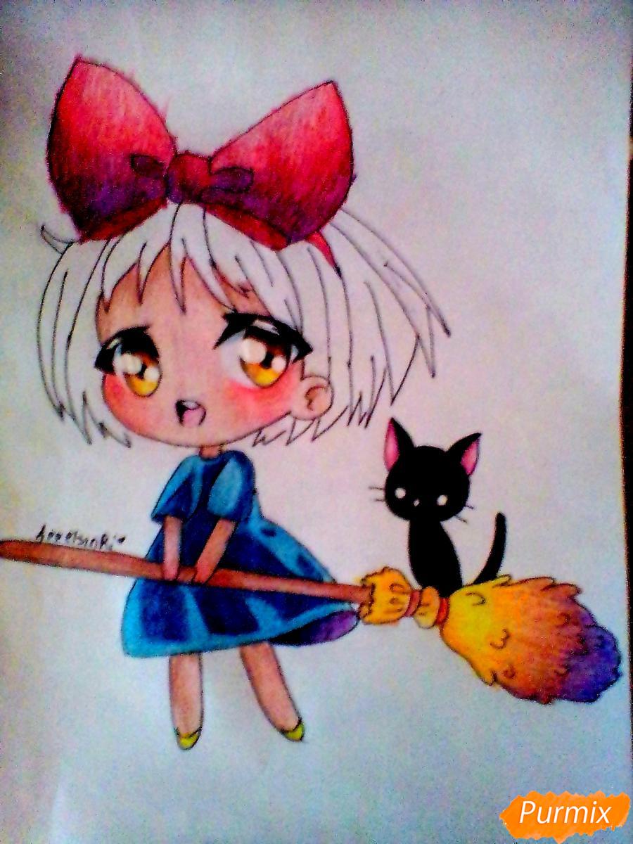 Рисуем Кики в стиле чиби из аниме Ведьмина служба доставки карандашами - шаг 7