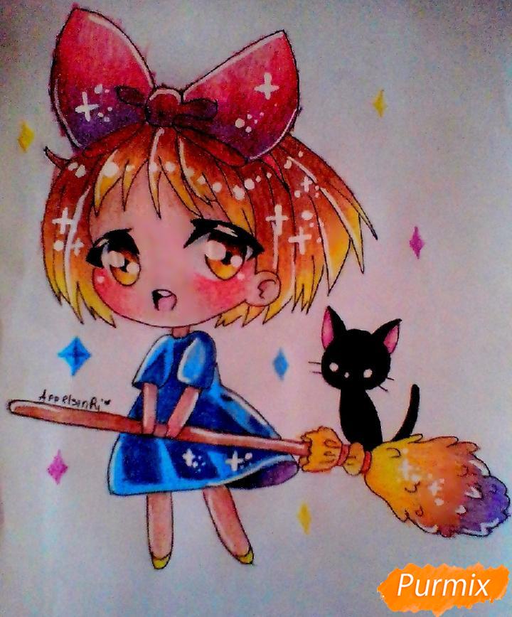 Как нарисовать Кики в стиле чиби из аниме Ведьмина служба доставки карандашами