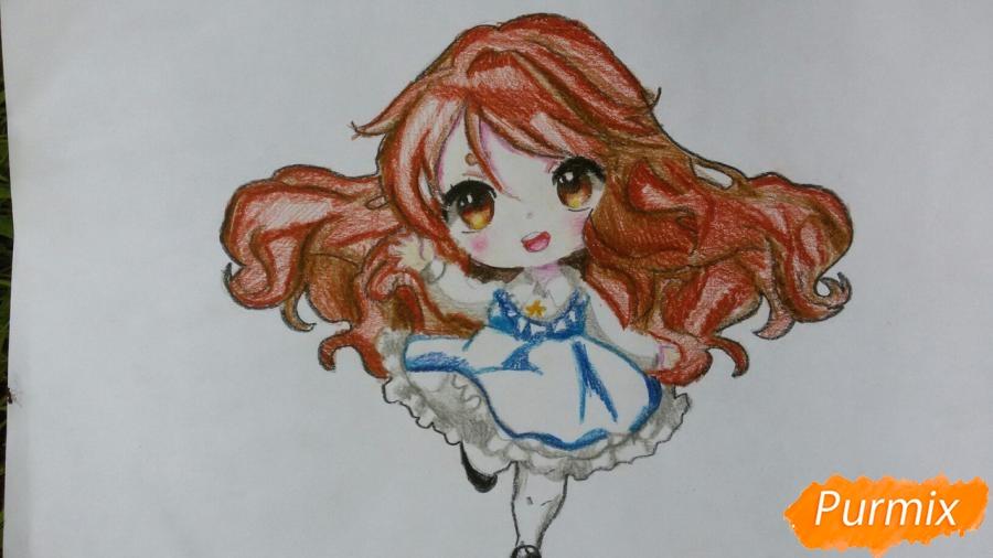 Рисуем красивую чиби девочку в голубом платье карандашами - шаг 13