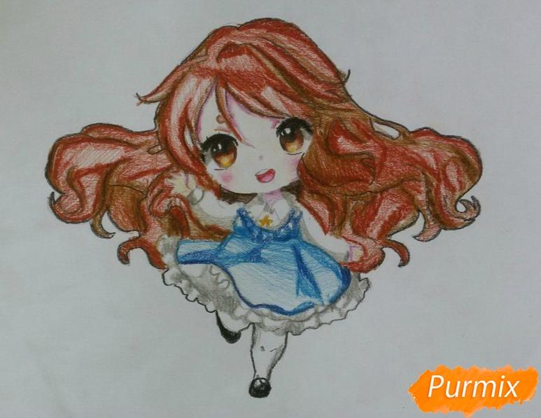 Рисуем красивую чиби девочку в голубом платье карандашами - шаг 14