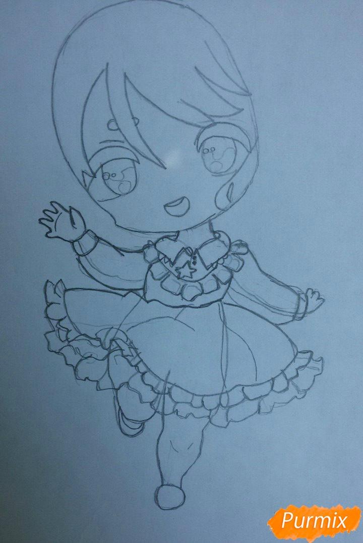Рисуем красивую чиби девочку в голубом платье карандашами - шаг 3