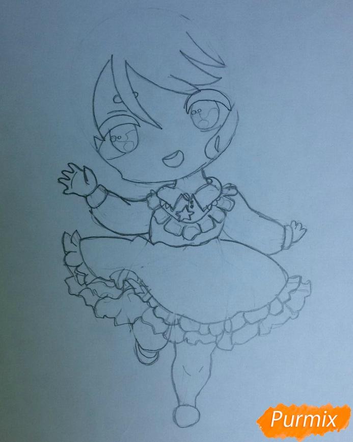 Рисуем красивую чиби девочку в голубом платье карандашами - шаг 4