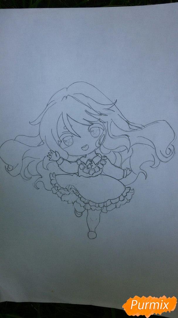 Рисуем красивую чиби девочку в голубом платье карандашами - шаг 6