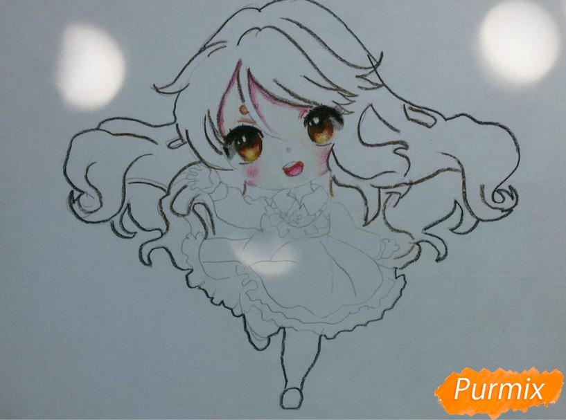 Рисуем красивую чиби девочку в голубом платье карандашами - шаг 9