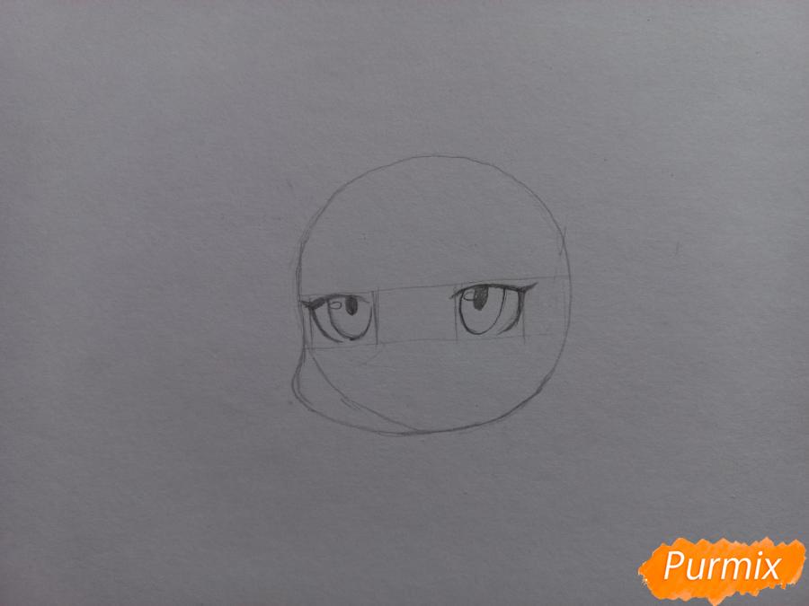 Рисуем Мацуока Рин в стиле чиби из аниме Вольный стиль - шаг 3
