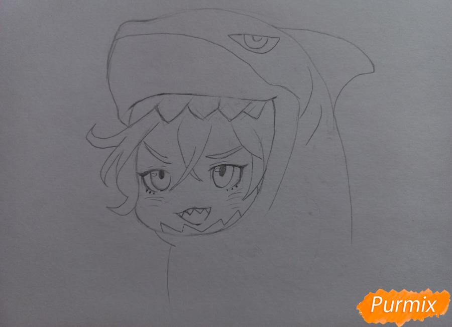 Рисуем Мацуока Рин в стиле чиби из аниме Вольный стиль - шаг 6