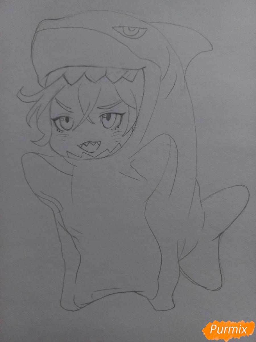 Рисуем Мацуока Рин в стиле чиби из аниме Вольный стиль - шаг 7