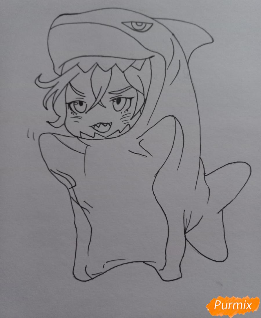 Рисуем Мацуока Рин в стиле чиби из аниме Вольный стиль - шаг 8