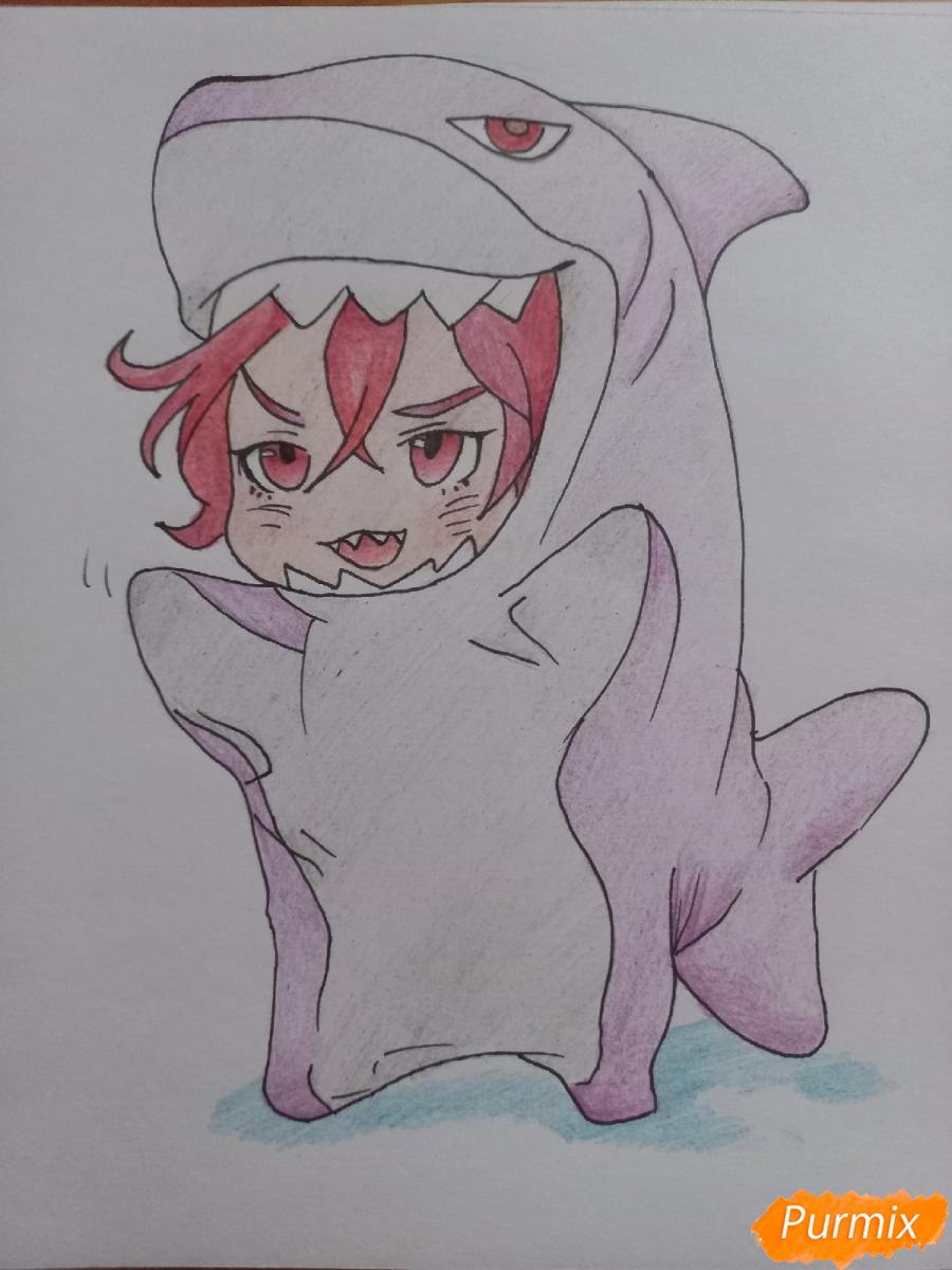Как нарисовать Мацуока Рин в стиле чиби из аниме Вольный стиль карандашом поэтапно