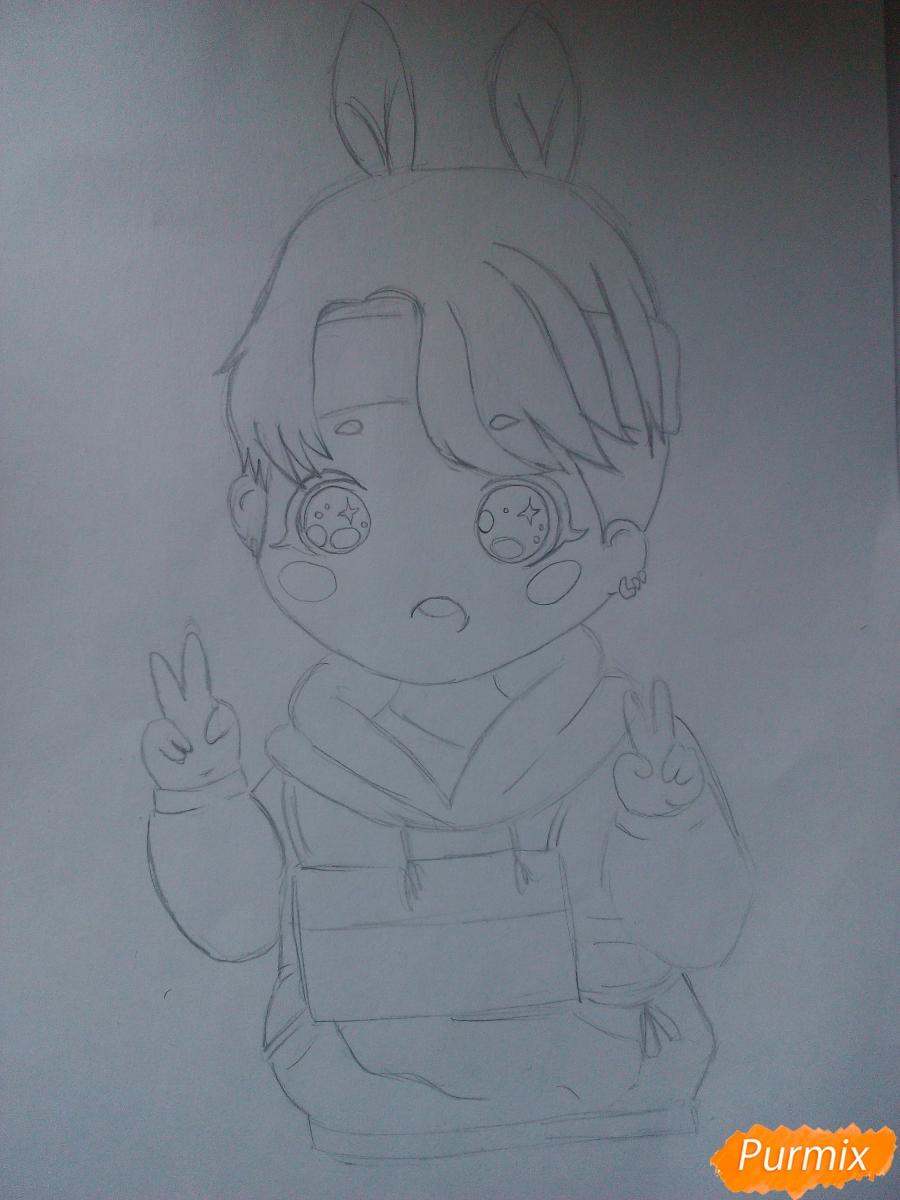 Рисуем маленького мальчика в стиле чиби карандашами - шаг 2