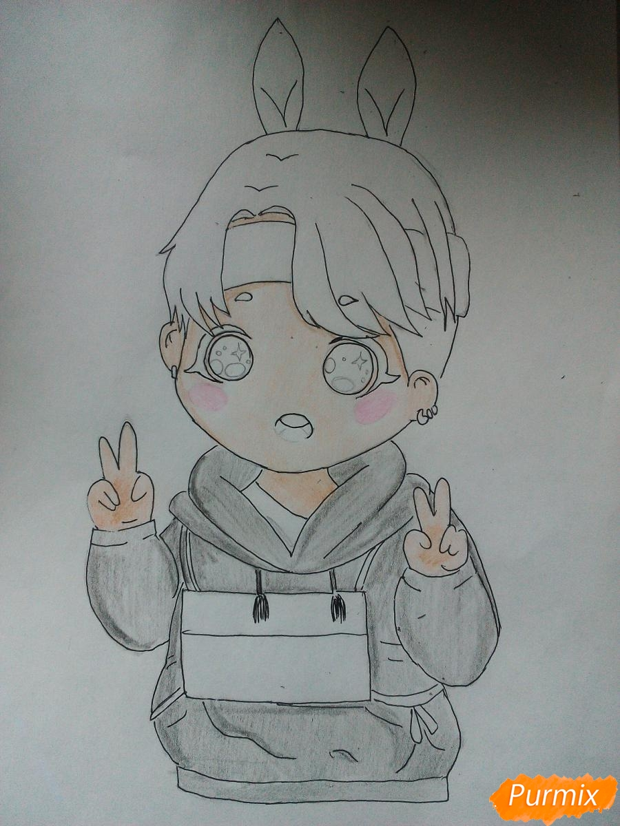 Рисуем маленького мальчика в стиле чиби карандашами - шаг 5
