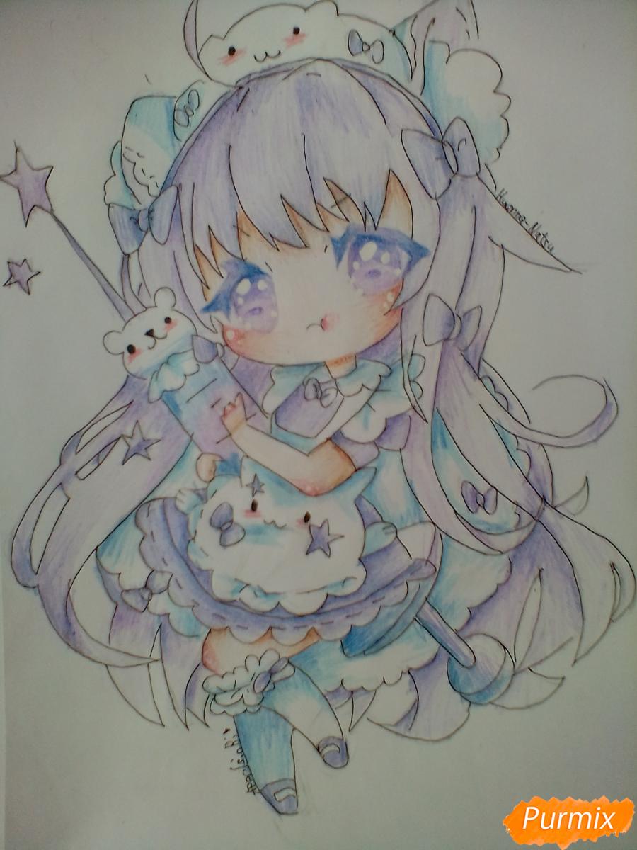 Рисуем медсестру в стиле чиби карандашами - шаг 13