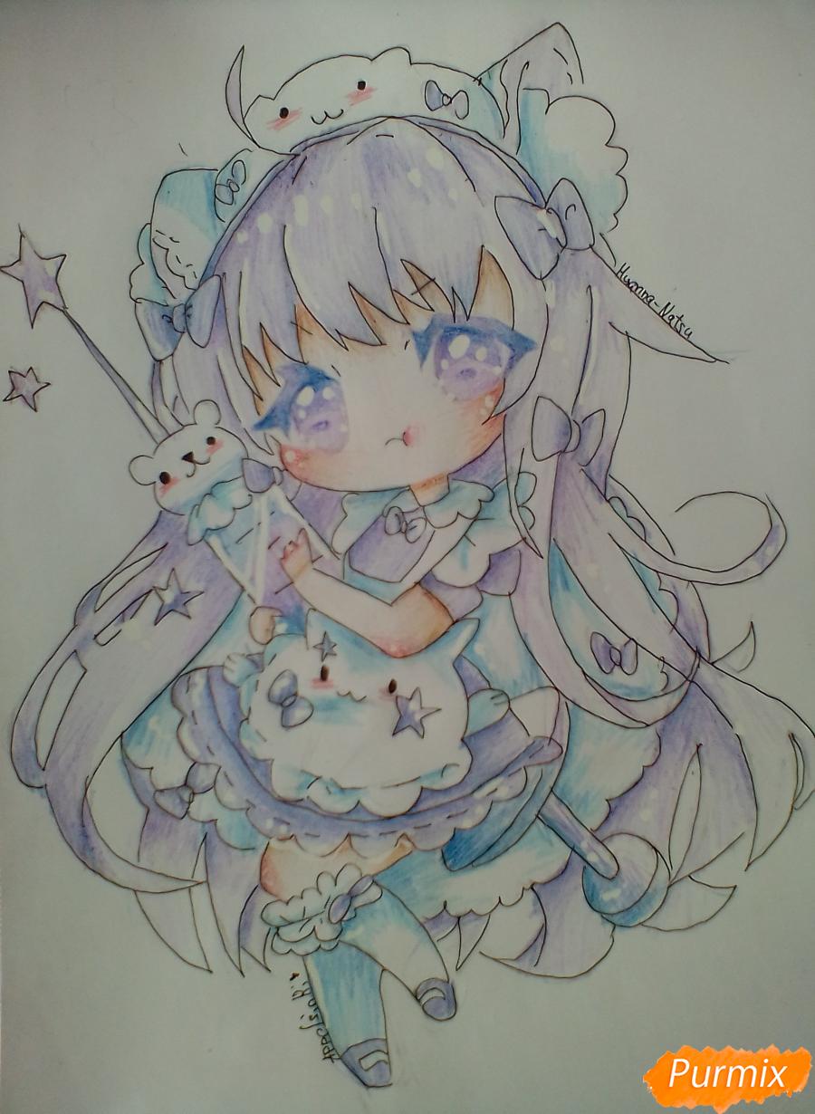 Рисуем медсестру в стиле чиби карандашами - шаг 14