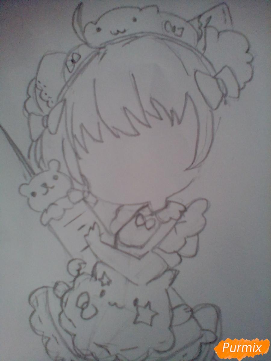 Рисуем медсестру в стиле чиби карандашами - шаг 6