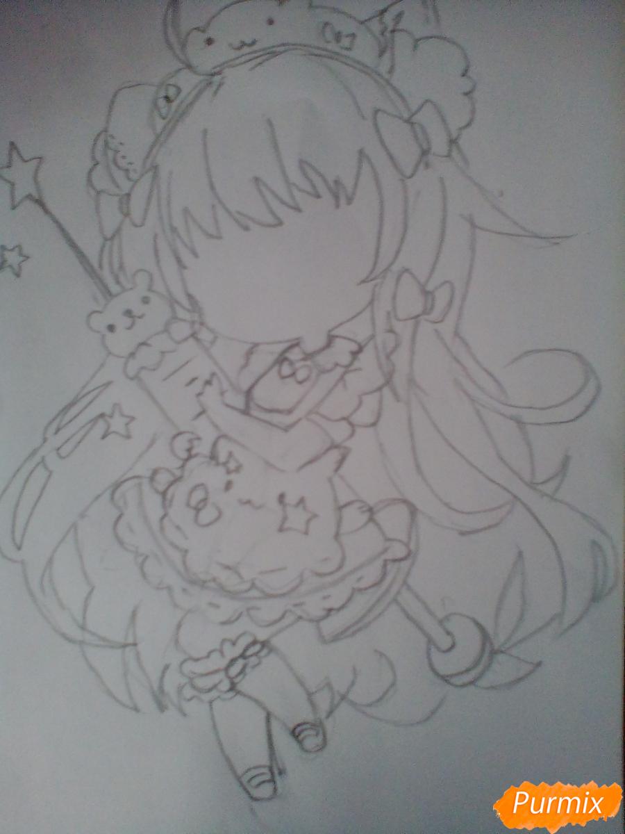 Рисуем медсестру в стиле чиби карандашами - шаг 7