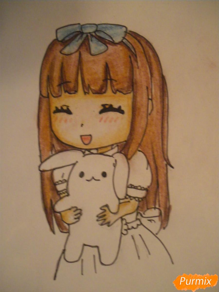 kak-narisovat-miluyu-chibi-devochku-s-plyushevym-zajkoj-pojetapno-10 Как нарисовать милую чиби девочку карандашом поэтапно