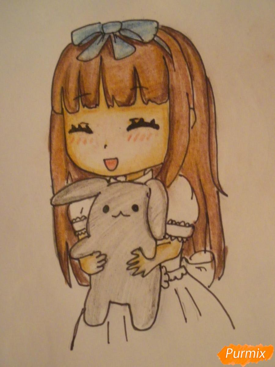 kak-narisovat-miluyu-chibi-devochku-s-plyushevym-zajkoj-pojetapno-11 Как нарисовать милую чиби девочку карандашом поэтапно